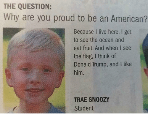 Donald Trump, Memes, and American: THE QUESTION:  Why are you proud to be an American?  Because I live here, I get  to see the ocean and  eat fruit. And when I see  the flag, I think of  Donald Trump, and I like  him.  TRAE SNOOZY  Student