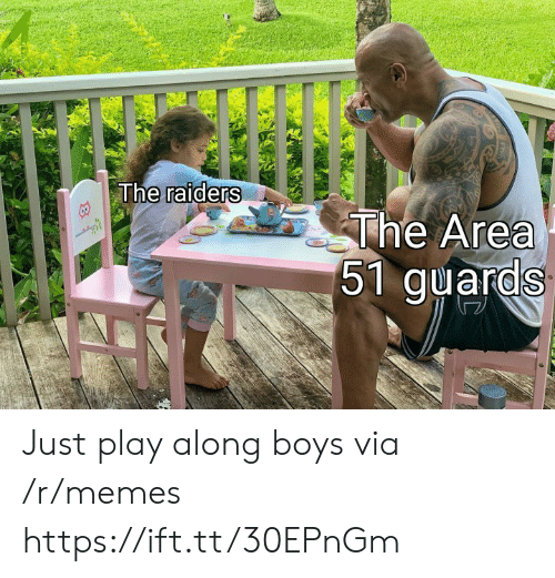 Memes, Raiders, and Boys: The raiders  The Area  51 guards Just play along boys via /r/memes https://ift.tt/30EPnGm