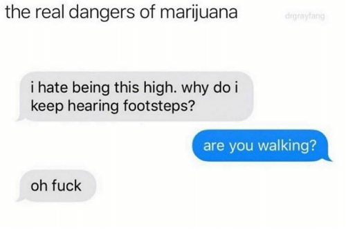 Fuck, Marijuana, and The Real: the real dangers of marijuana  i hate being this high. why do i  keep hearing footsteps?  are you walking?  oh fuck