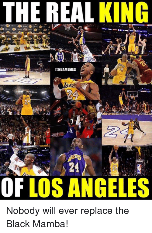 Nba, Black, and Los Angeles: THE REAL KING  16  NBAMEMES  24  KSY  OF LOS ANGELES Nobody will ever replace the Black Mamba!