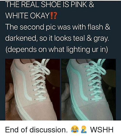 Memes, Wshh, and Okay: THE REAL SHOE IS PINK &  WHITE OKAY!?  The second pic was with flash &  darkened, so it looks teal & gray  (depends on what lighting ur in) End of discussion. 😂🤦♂️ WSHH