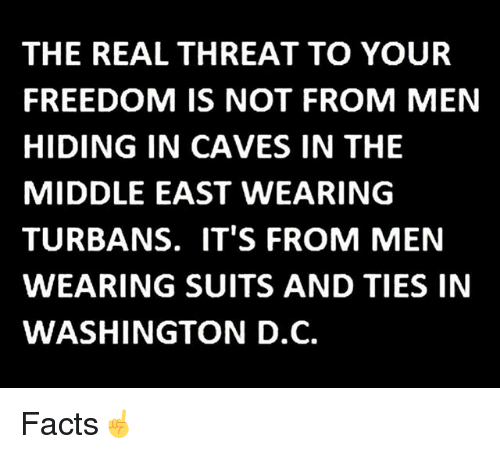 Facts, Memes, and Suits: THE REAL THREAT TO YOUR  FREEDOM IS NOT FROM MEN  HIDING IN CAVES IN THE  MIDDLE EAST WEARING  TURBANS. IT'S FROM MEN  WEARING SUITS AND TIES IN  WASHINGTON D.C. Facts☝️