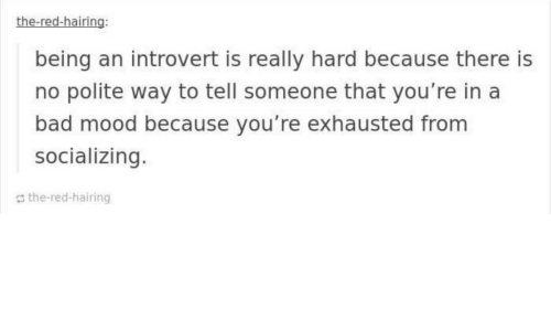 Bad, Introvert, and Mood: the-red-hairing:  being an introvert is really hard because there is  no polite way to tell someone that you're in a  bad mood because you're exhausted from  socializing.  the-red-hairing