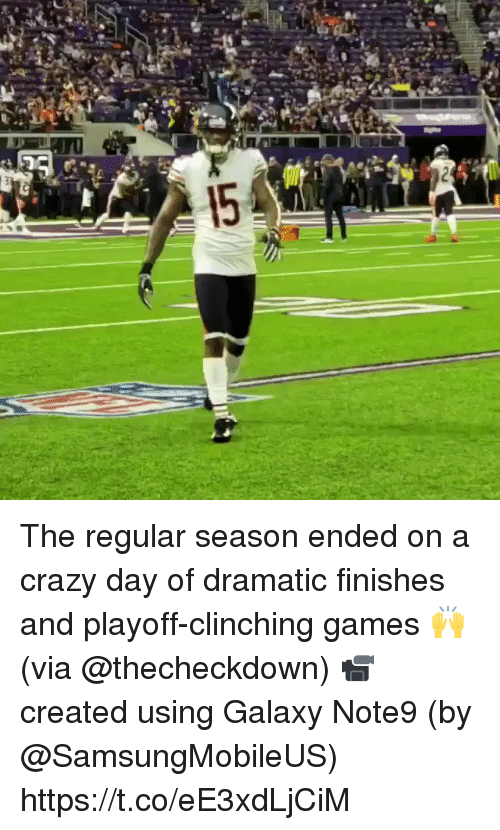 Crazy, Memes, and Games: The regular season ended on a crazy day of dramatic finishes and playoff-clinching games 🙌 (via @thecheckdown)  📹 created using Galaxy Note9 (by @SamsungMobileUS) https://t.co/eE3xdLjCiM