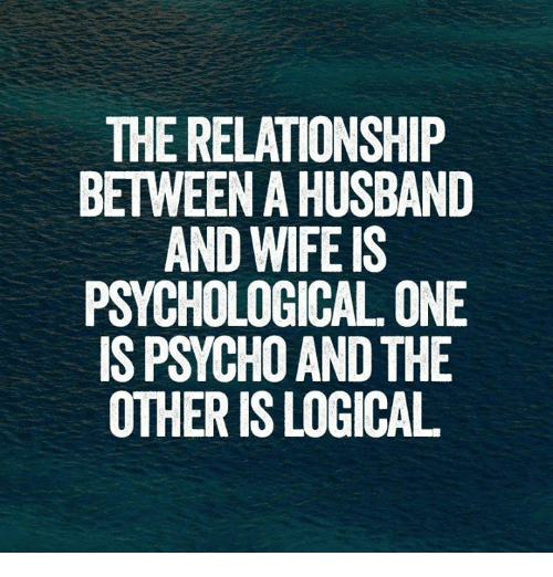 funny logic and relationships the relationship between a husband and wife is psychological one is psycho and the other is logical