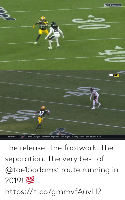 Very: The release. The footwork. The separation.   The very best of @tae15adams' route running in 2019! 💯 https://t.co/gmmvfAuvH2