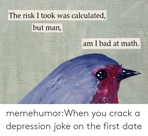 Risk I Took Was Calculated But Man Am I Bad At Math: The risk I took was calculated,  but man,  am I bad at math memehumor:When you crack a depression joke on the first date