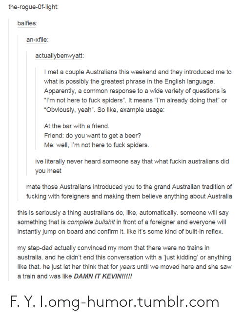 """Jump On: the-rogue-Of-light:  balfies:  an-xfile:  actuallybenwyatt:  I met a couple Australians this weekend and they introduced me to  what is possibly the greatest phrase in the English language.  Apparently, a common response to a wide variety of questions is  """"I'm not here to fuck spiders"""". It means """"I'm already doing that"""" or  """"Obviously, yeah"""". So like, example usage:  At the bar with a friend.  Friend: do you want to get a beer?  Me: well, I'm not here to fuck spiders.  ive literally never heard someone say that what fuckin australians did  you meet  mate those Australians introduced you to the grand Australian tradition of  fucking with foreigners and making them believe anything about Australia  this is seriously a thing australians do, like, automatically. someone will say  something that is complete bullshit in front of a foreigner and everyone will  instantly jump on board and confirm it. like it's some kind of built-in reflex.  my step-dad actually convinced my mom that there were no trains in  australia. and he didn't end this conversation with a 'just kidding' or anything  like that. he just let her think that for years until we moved here and she saw  a train and was like DAMN IT KEVIN!!!!! F. Y. I.omg-humor.tumblr.com"""