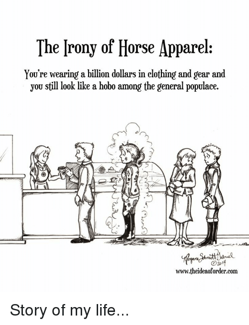 Life, Horse, and The General: The [rony of Horse Apparel:  You're wearing a billion dollars in clothing and gear and  you still look like a hobo among the general populace.  Lo  www.theideaoforder.com Story of my life...