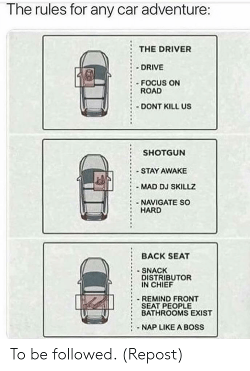 Drive, Focus, and Mad: The rules for any car adventure:  THE DRIVER  DRIVE  FOCUS ON  ROAD  DONT KILL US  SHOTGUN  STAY AWAKE  MAD DJ SKILLZ  :-NAVIGATE SO  HARD  :BACK SEAT  SNACK  DISTRIBUTOR  IN CHIEF  REMIND FRONT  SEAT PEOPLE  : BATHROOMS EXIST  NAP LIKE A BOSS To be followed. (Repost)