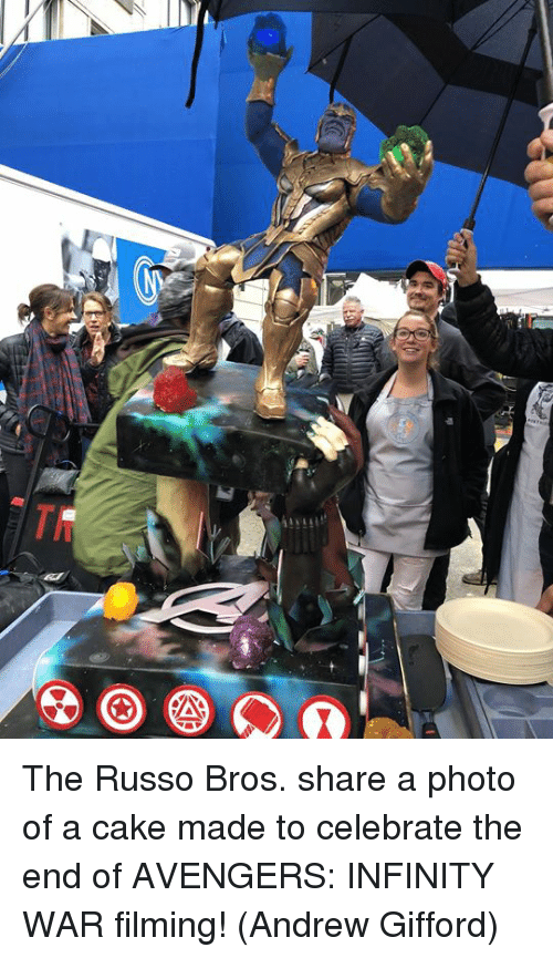 Memes, Avengers, and Cake: The Russo Bros. share a photo of a cake made to celebrate the end of AVENGERS: INFINITY WAR filming!  (Andrew Gifford)