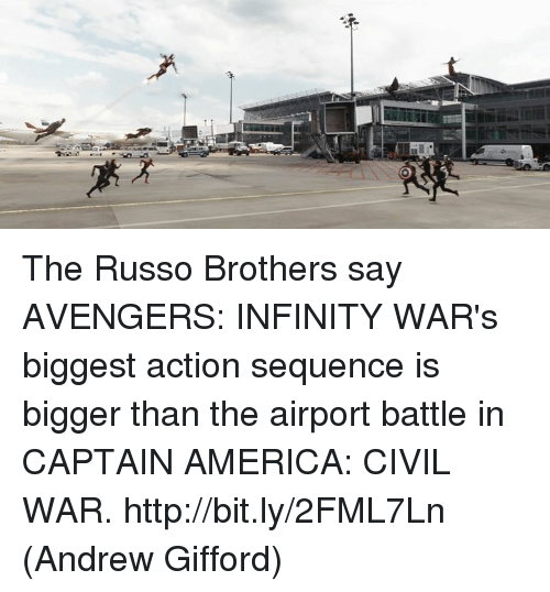 America, Captain America: Civil War, and Memes: The Russo Brothers say AVENGERS: INFINITY WAR's biggest action sequence is bigger than the airport battle in CAPTAIN AMERICA: CIVIL WAR. http://bit.ly/2FML7Ln  (Andrew Gifford)