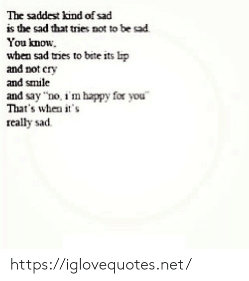 """Happy, Smile, and Sad: The saddest kind of sad  is the sad that tries not to be sad  You know.  when sad tries to bite its lip  and not cry  and smile  and say """"no, i'm happy for you  That's when it's  really sad https://iglovequotes.net/"""