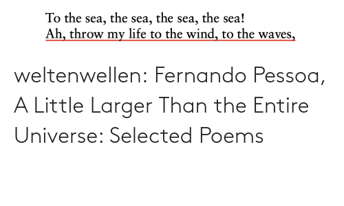 A Little: the sea!  the  the  To the sea,  Ah, throw my life to the wind, to the waves,  sea,  sea, weltenwellen:  Fernando Pessoa, A Little Larger Than the Entire Universe: Selected Poems