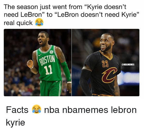 "Basketball, Facts, and Nba: The season just went from ""Kyrie doesn't  need LeBron"" to ""LeBron doesn't need Kyrie""  real quick  ON  28  @NBAMEMES Facts 😂 nba nbamemes lebron kyrie"