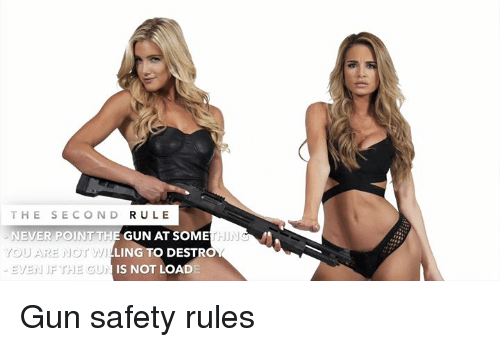 Memes, Never, and 🤖: THE SECOND RULE  NEVER POINT THE GUN AT SOME  YOU ARE NOT  EVEN IF THE GU  HIN  WILLING TO DESTROY  IS NOT LOAD Gun safety rules