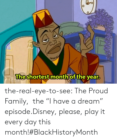 "proud family: The  shortest month of the year the-real-eye-to-see:  The Proud Family,   the ""I have a dream"" episode.Disney, please, play it every day this month!#BlackHistoryMonth"