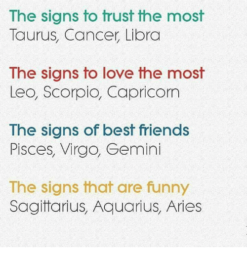 Friends, Funny, and Love: The signs to trust the most  Taurus, Cancer Libra  The signs to love the most  Leo, Scorpio, Capricom  Ihe signs of best friends  Pisces, Virgo, Gemini  The signs that are funny  Sagitarius, Aquarius, Aries