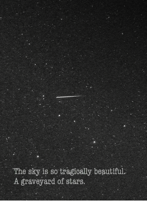 Beautiful, Stars, and Beautiful A: The sky is so tragically beautiful  A graveyard of stars.