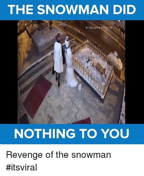 snowmans: THE SNOWMAN DID  31-12-20  02 17:33  NOTHING TO YOU Revenge of the snowman #itsviral