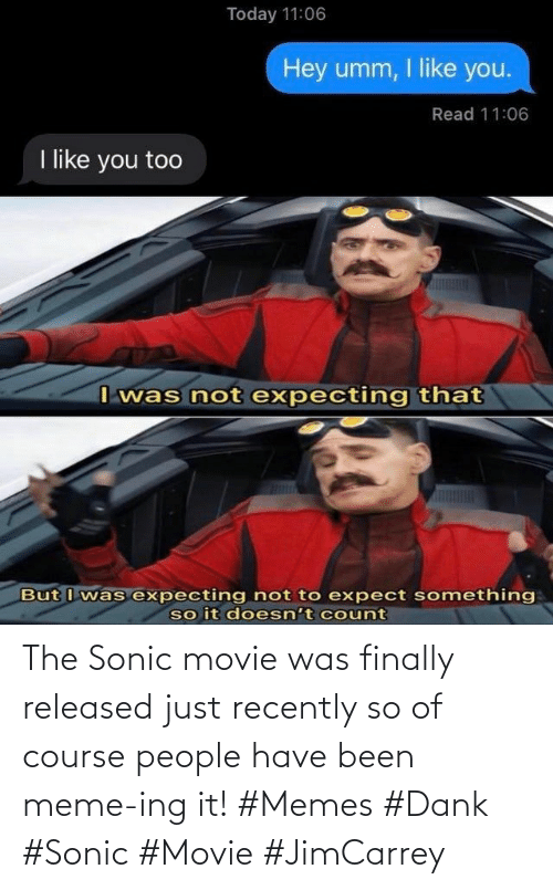 of course: The Sonic movie was finally released just recently so of course people have been meme-ing it! #Memes #Dank #Sonic #Movie #JimCarrey