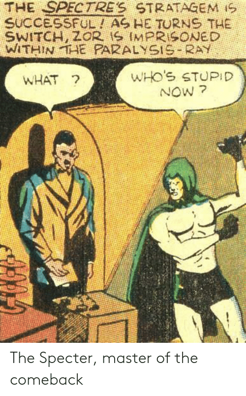 Ray, Specter, and Master: THE SPECTRE'S STRATAGEM iS  SUCCESSFUL! AS HE TURNS THE  WITHINTAE PARALYSIS RAY  WHO'S STUPID  NOW ?  WHAT ? The Specter, master of the comeback