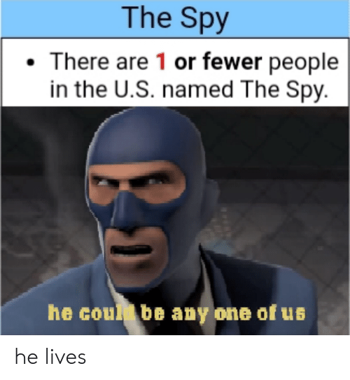 Fewer: The Spy  There are 1 or fewer people  in the U.S. named The Spy.  he coul be any one of us he lives
