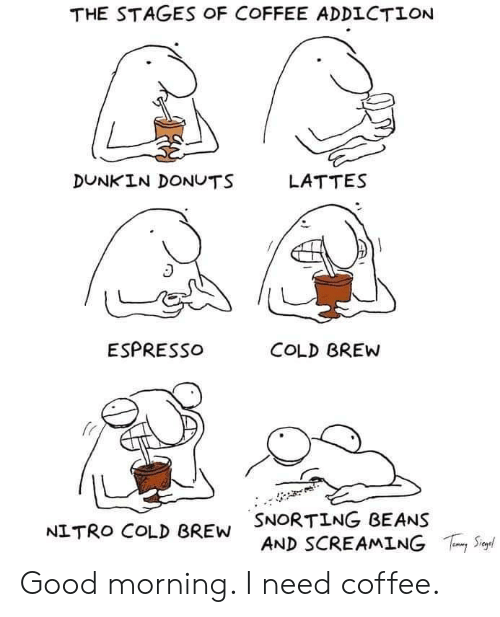 Snorting: THE STAGES OF COFFEE ADDICTION  DUNKIN DONUTS  LATTES  ESPRESSO  COLD BREW  SNORTING BEANS  AND SCREAMING  S  NITRO COLD BREW Good morning. I need coffee.