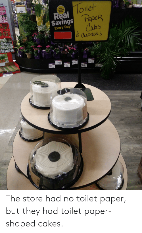 cakes: The store had no toilet paper, but they had toilet paper-shaped cakes.