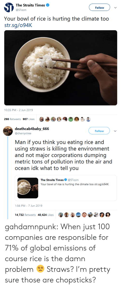 Tumblr, Blog, and Ocean: The Straits Times  Follow  @STcom  Your bowl of rice is hurting the climate too  str.sg/094K  10:35 PM - 2 Jun 2019  298 Retweets 907 Likes   deathcab4baby_666  Follow  @cherryxtree  Man if you think you eating rice and  using straws is killing the environment  and not major corporations dumping  metric tons of pollution into the air and  ocean idk what to tell you  The Straits Times  @STcom  Your bowl of rice is hurting the climate too str.sg/094K  1:56 PM 7 Jun 2019  14,732 Retweets 40,424 Likes gahdamnpunk: When just 100 companies are responsible for 71% of global emissions of course rice is the damn problem 😒  Straws? I'm pretty sure those are chopsticks?