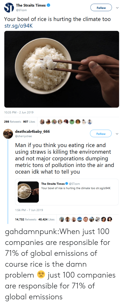 pollution: The Straits Times  Follow  @STcom  Your bowl of rice is hurting the climate too  str.sg/094K  10:35 PM - 2 Jun 2019  298 Retweets 907 Likes   deathcab4baby_666  Follow  @cherryxtree  Man if you think you eating rice and  using straws is killing the environment  and not major corporations dumping  metric tons of pollution into the air and  ocean idk what to tell you  The Straits Times  @STcom  Your bowl of rice is hurting the climate too str.sg/094K  1:56 PM 7 Jun 2019  14,732 Retweets 40,424 Likes gahdamnpunk:When just 100 companies are responsible for 71% of global emissions of course rice is the damn problem 😒 just 100 companies are responsible for 71% of global emissions