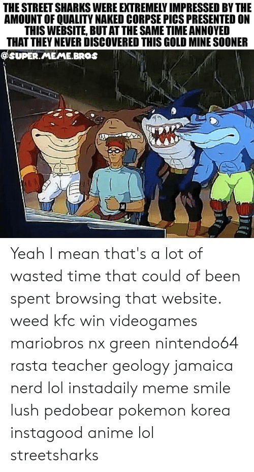 Anime, Kfc, and Lol: THE STREET SHARKS WERE EXTREMELY IMPRESSED BY THE  AMOUNT OF QUALITY NAKED CORPSE PICS PRESENTED ON  THIS WEBSITE, BUT AT THE SAME TIME ANNOYED  THAT THEY NEVER DISCOVERED THIS GOLD MINE SOONER  @SUPER.MEME.BROs Yeah I mean that's a lot of wasted time that could of been spent browsing that website. weed kfc win videogames mariobros nx green nintendo64 rasta teacher geology jamaica nerd lol instadaily meme smile lush pedobear pokemon korea instagood anime lol streetsharks