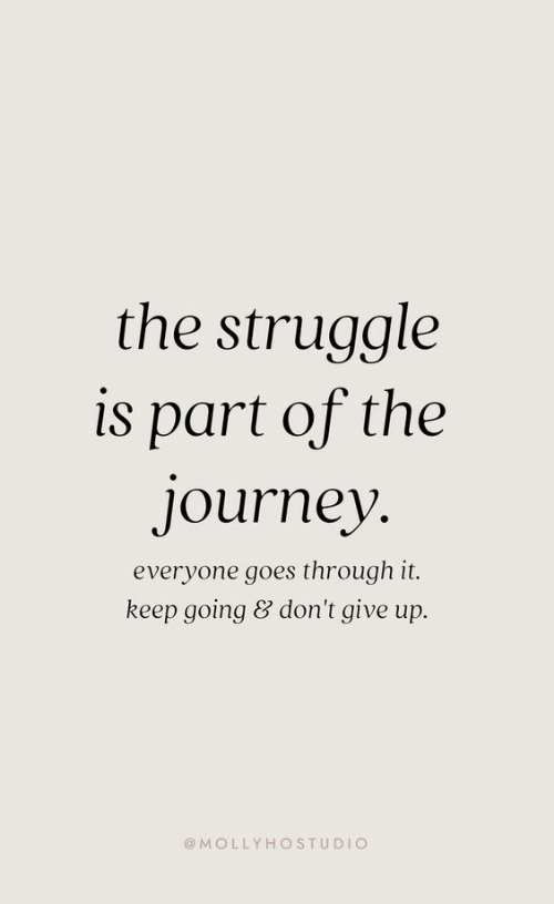 Journey, Struggle, and Everyone: the struggle  is part of the  journey  everyone goes through it.  keep going & don't give up.  @MOLLYHOSTUDIO