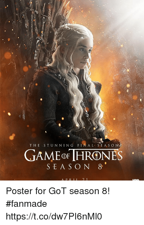 Got, For, and Fin: THE STUN NING FIN A L SEA S O N  GAMEoF [HRONES  SEA S O N 8  A PR II 2 1 Poster for GoT season 8! #fanmade https://t.co/dw7PI6nMl0