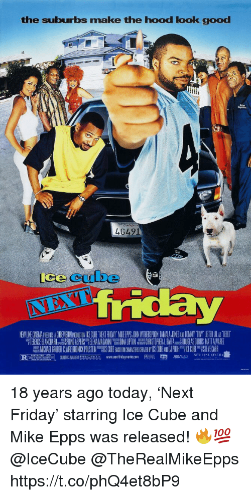 "Friday, Ice Cube, and Memes: the suburbs make the hood look good  4G491  ice cube  NEW LINE CINEMA PICGENTS A CUBEVISION PROIUCTON CE GCUBE TYEKT FRIDAY MIKE PS JOHRN WITHEISPOON TAMALA JONESANDTOMNY TINY""LISTER.JR AS TIEBO  TERENCE BLANCHARDSPRING ASPERS LENANHRISTOPHER J.BAFA DOUGLAS CURTIS MATT ALVARE  MICHAEL GRUBER CLAIRERU NICKPUSTEIN EC BE ON AC CHEA ICECUBE NPOOH E0H STEVECARR  www.nextfridaymove.com  p m.  en,  NEW LINE CINEM를  ""두n onm  rorsa.. 18 years ago today, 'Next Friday' starring Ice Cube and Mike Epps was released! 🔥💯 @IceCube @TheRealMikeEpps https://t.co/phQ4et8bP9"