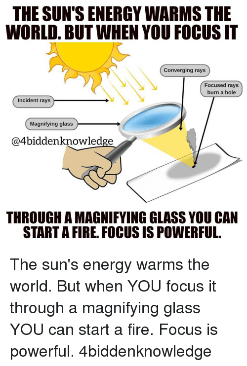 Memes, 🤖, and The Sun: THE SUN'S ENERGYWARMS THE  WORLD. BUT WHEN YOU FOCUSIT  Converging rays  Focused rays  burn a hole  Incident rays  Magnifying glass  @4biddenknowledge  THROUGH A MAGNIFYING GLASS YOU CAN  STARTA FIRE. FOCUS IS POWERFUL The sun's energy warms the world. But when YOU focus it through a magnifying glass YOU can start a fire. Focus is powerful. 4biddenknowledge