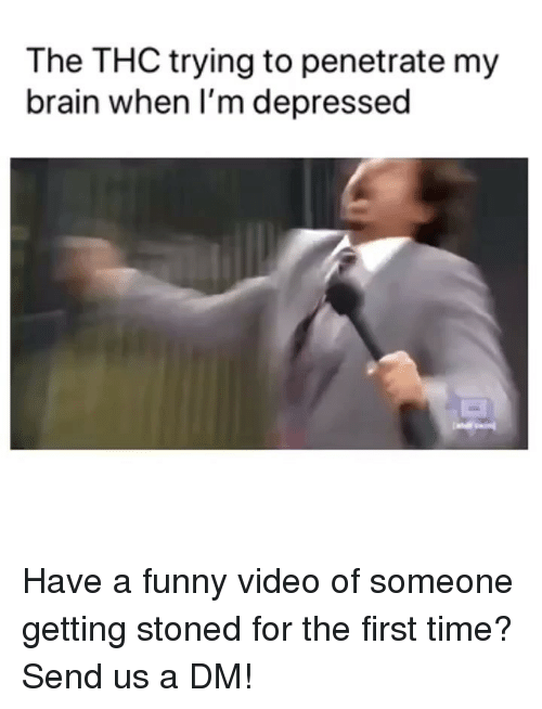 Funny, Weed, and Brain: The THC trying to penetrate my  brain when I'm depressed Have a funny video of someone getting stoned for the first time? Send us a DM!