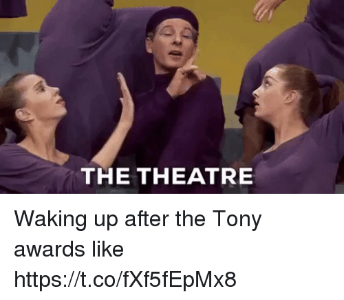 Memes, Theatre, and 🤖: THE THEATRE Waking up after the Tony awards like https://t.co/fXf5fEpMx8