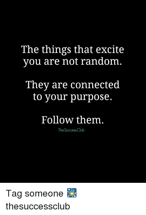 Memes, 🤖, and Excition: The things that excite  you are not random  They are connected  to your purpose.  Follow them  The Success Club Tag someone 🎇 thesuccessclub
