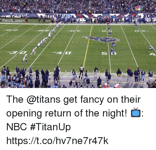 Memes, Fancy, and 🤖: The @titans get fancy on their opening return of the night!  📺: NBC #TitanUp https://t.co/hv7ne7r47k