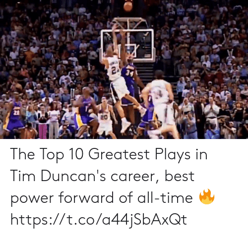 top 10: The Top 10 Greatest Plays in Tim Duncan's career, best power forward of all-time 🔥 https://t.co/a44jSbAxQt