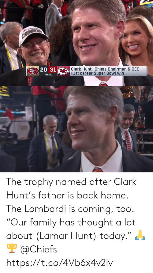"Clark: The trophy named after Clark Hunt's father is back home. The Lombardi is coming, too.  ""Our family has thought a lot about (Lamar Hunt) today."" 🙏🏆 @Chiefs https://t.co/4Vb6x4v2lv"