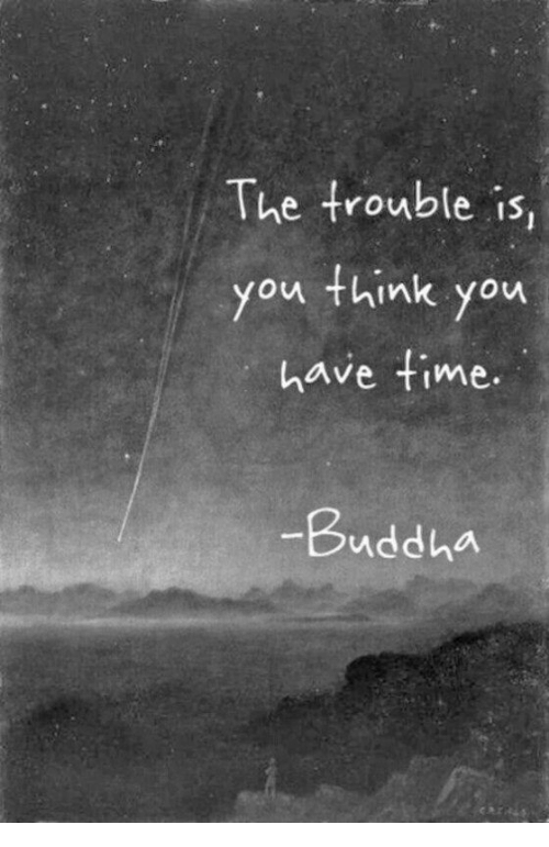Buddha, Think, and You: The trouble is,  you think you  have fime.  Buddha