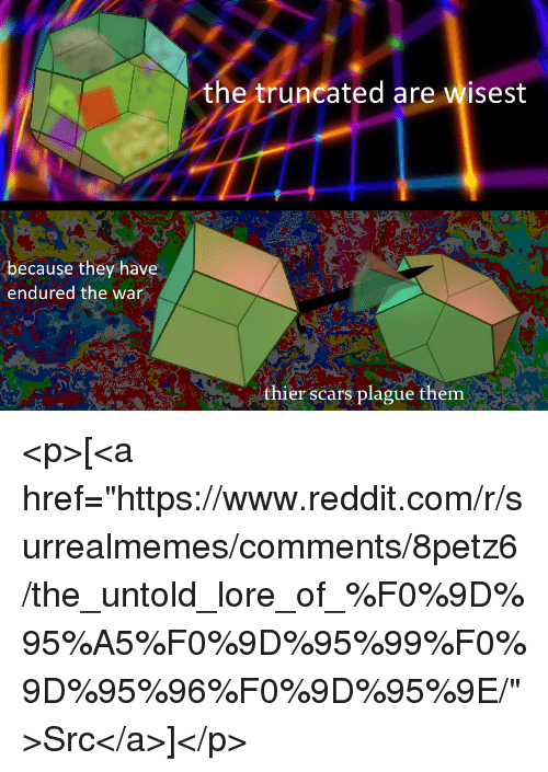 """thier: the truncated are wisest  because they have  endured the war  thier scars plague them <p>[<a href=""""https://www.reddit.com/r/surrealmemes/comments/8petz6/the_untold_lore_of_%F0%9D%95%A5%F0%9D%95%99%F0%9D%95%96%F0%9D%95%9E/"""">Src</a>]</p>"""