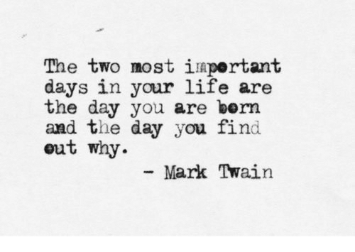 Mark Twain: The two most iuportant  days in your life are  the day you are bern  and the day you find  out why  Mark Twain