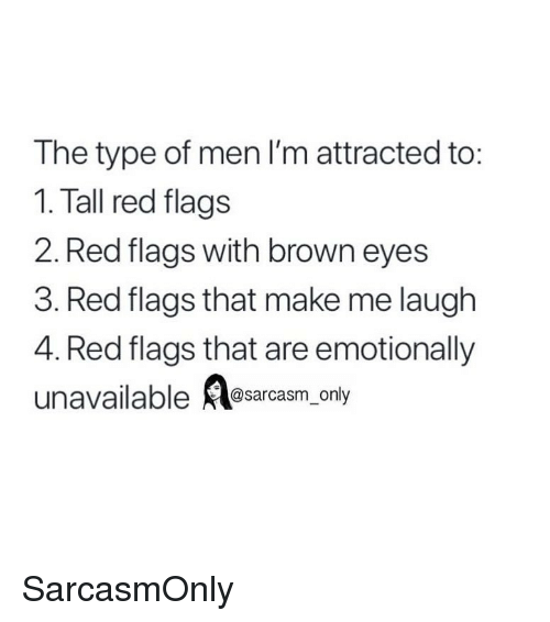 Funny, Memes, and Red: The type of men I'm attracted to:  1. Tall red flags  2. Red flags with brown eyes  3. Red flags that make me laugh  4. Red flags that are emotionally  unavailable Aesarcasm, only SarcasmOnly