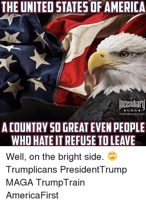 America, Memes, and United: THE UNITED STATES OF AMERICA  U.S.A  incendiaryusa.com  A COUNTRY SO GREAT EVEN PEOPLE  WHO HATE IT REFUSE TO LEAVE Well, on the bright side. 🙄 Trumplicans PresidentTrump MAGA TrumpTrain AmericaFirst