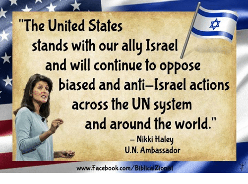 "Memes, 🤖, and Nikki Haley: ""The United States  stands with our ally Israel  and will continue to oppose  TA biased and anti-Israel actions  across the UN system  and around the world  Nikki Haley  U. N. Ambassador  www.facebook.com/BiblicalZionist"