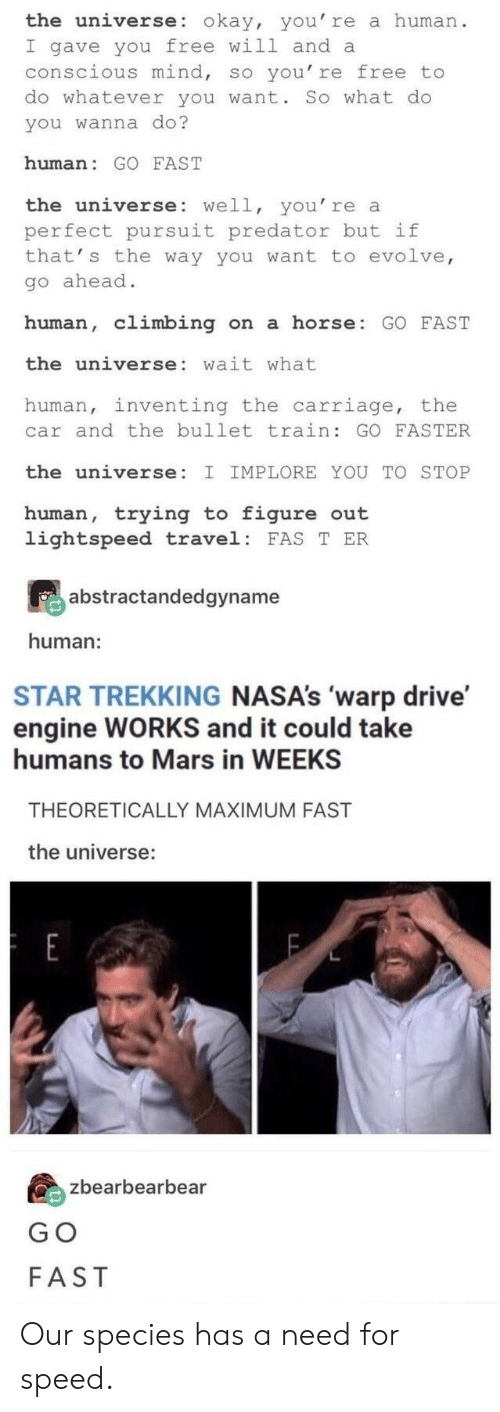 Climbing, Drive, and Evolve: the universe: okay, you' re a human  I gave you free will and a  conscious mind, so you' re free to  do whatever you want. So what do  you wanna do?  human: GO FAST  the universe: well, you' re a  perfect pursuit predator but if  that' s the way you want to evolve  go ahead  human, climbing n a horse: GO FAST  the universe: wait what  human, inventing the carriage, the  car and the bullet train: GO FASTER  the universe:  IMPLORE YOU TO STOP  human, trying t figure out  lightspeed travel: FAS T ER  abstractandedgyname  human:  STAR TREKKING NASA's 'warp drive'  engine WORKS and it could take  humans to Mars in WEEKS  THEORETICALLY MAXIMUM FAST  the universe:  zbearbearbear  G O  FAST Our species has a need for speed.