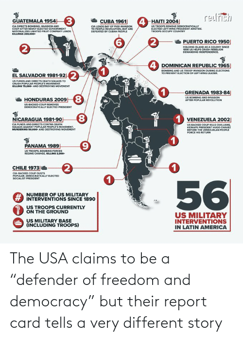 "Democracy: The USA claims to be a ""defender of freedom and democracy"" but their report card tells a very different story"
